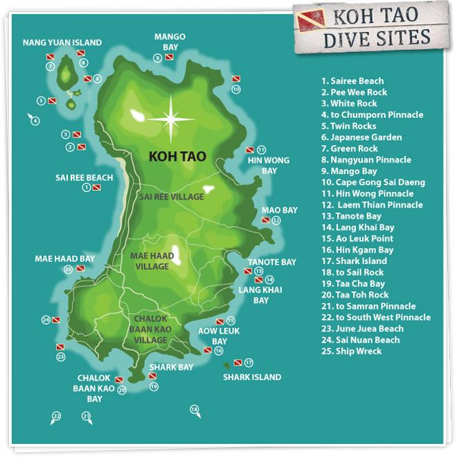 mapa centros de buceo koh tao